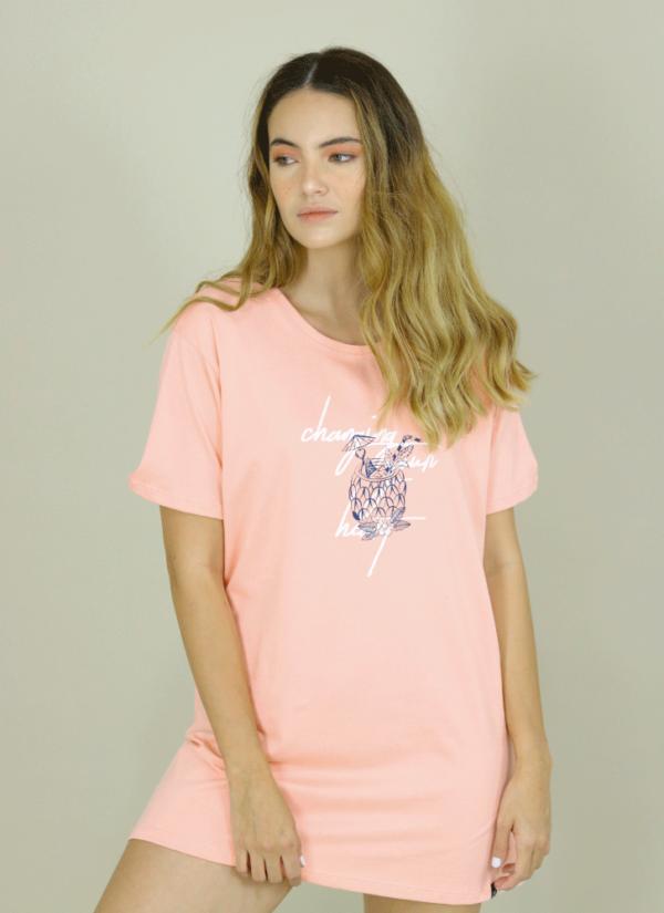 Camiseta Oversize Rosa Neón
