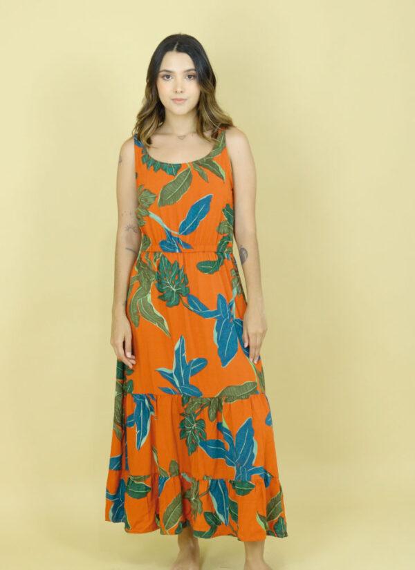Vestido Largo Hojas